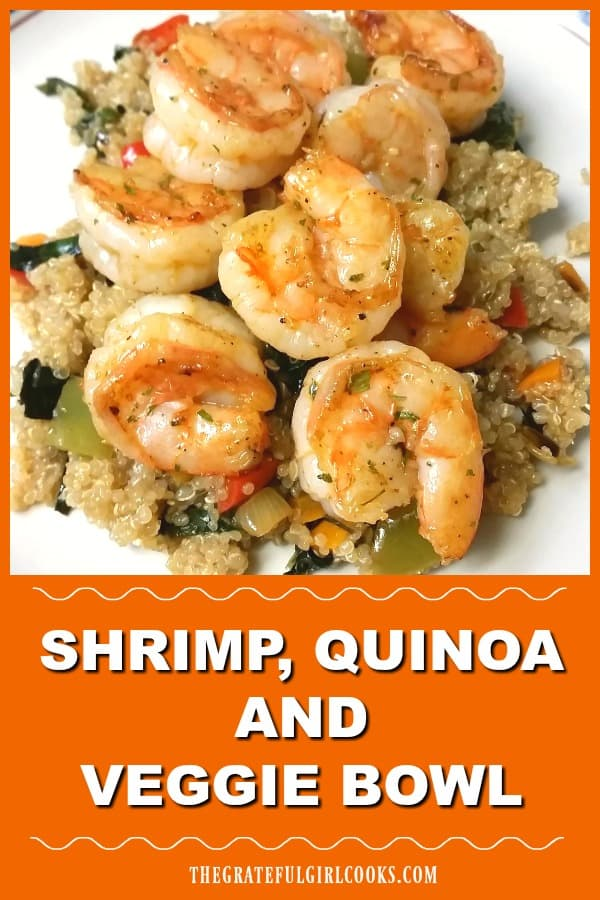 Make a delicious, filling shrimp quinoa veggie bowl, an all-in-one meal with cajun seasoned shrimp, fluffy quinoa, Swiss chard, onions, and peppers.