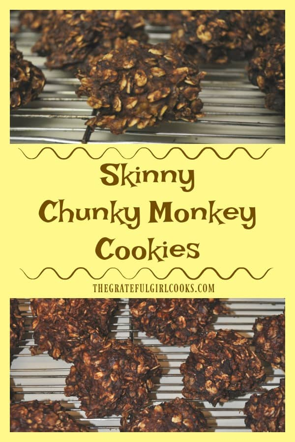 Skinny Chunky Monkey Cookies are easy to make, low calorie baked treats with oats, applesauce, peanut butter, bananas and cocoa powder.
