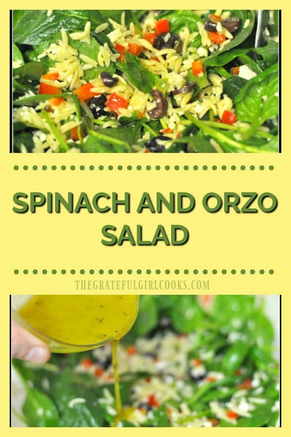 This delicious spinach and orzo salad is an easy to make dish, with feta cheese, capers, kalamata olives, and a simple homemade salad dressing!