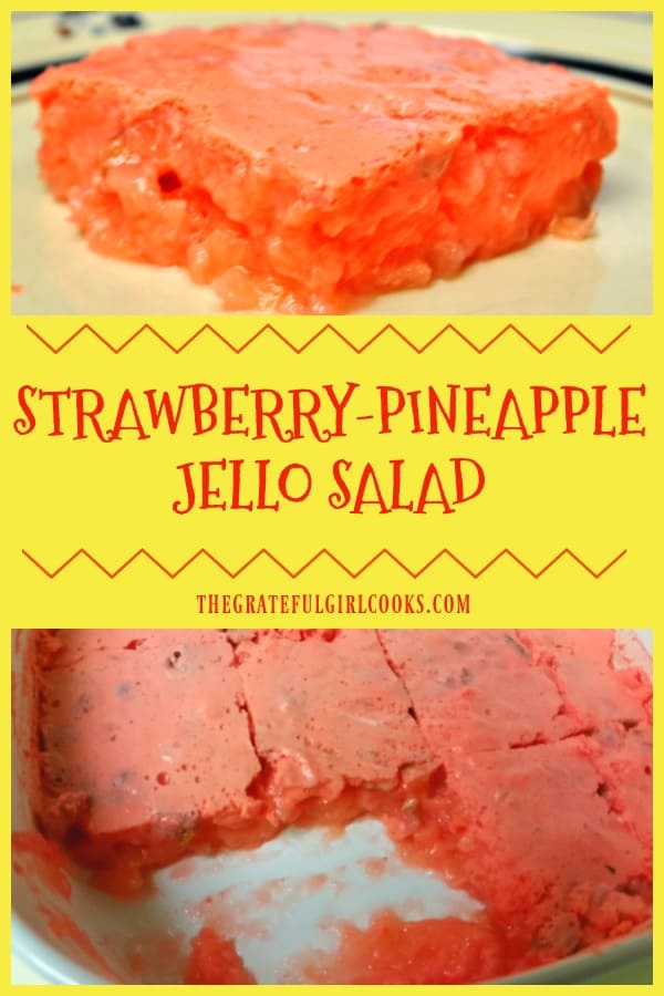 It's easy to make a delicious Strawberry-Pineapple Jello Salad, enhanced with pecans, cream cheese and a secret ingredient- shhh.. it's 7-Up!