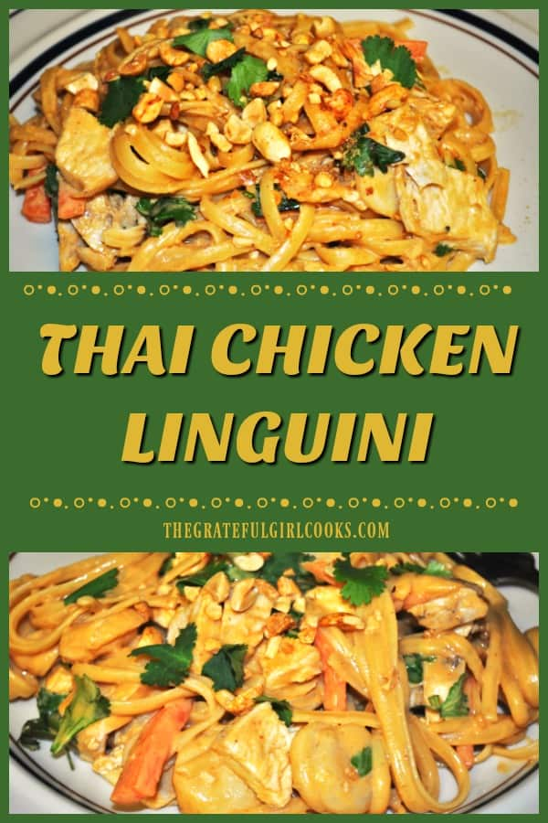 Thai Chicken Linguini (a Cheesecake Factory copycat recipe), with chicken breasts and pasta in a creamy Asian peanut sauce, is absolutely delicious!
