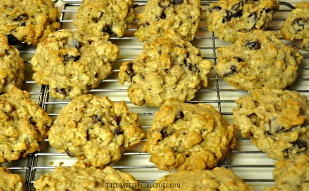 Oatmeal raisin cookies on wire rack, ready to eat!
