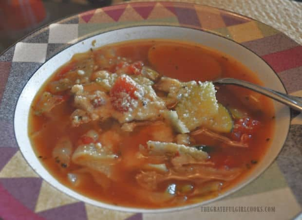 Close up of easy healthy veggie soup in bowl.