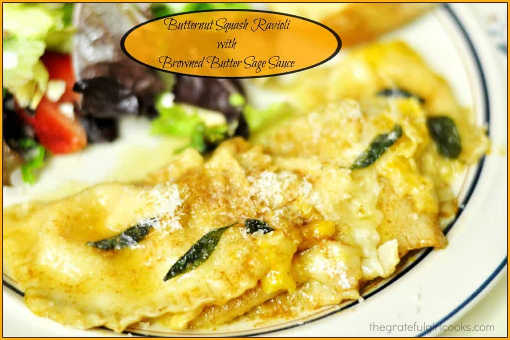 butternut squash ravioli with browned butter sage sauce