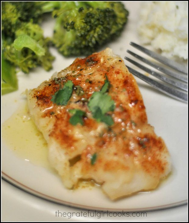 Chili Lime Cumin Cod is topped with sauce, then served (with broccoli and rice on the side).