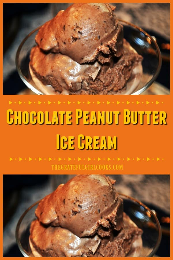 Grab the ol' ice cream maker and enjoy a scoop of this delicious, cold and creamy chocolate peanut butter ice cream! You're gonna love it!
