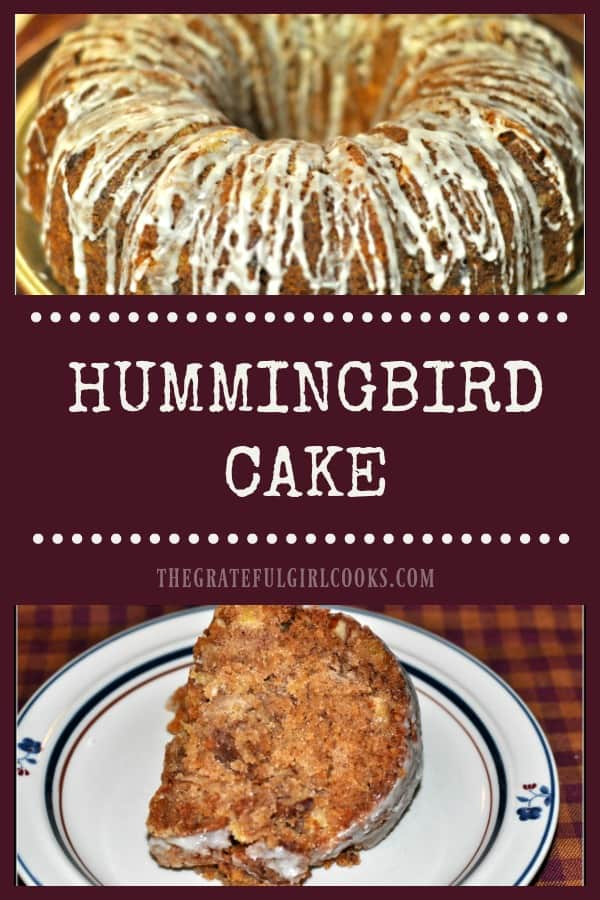 This easy to prepare hummingbird cake is perfect for breakfast, brunch or dessert. With pineapple, bananas, nuts, and coconut, it's a moist, delicious treat!