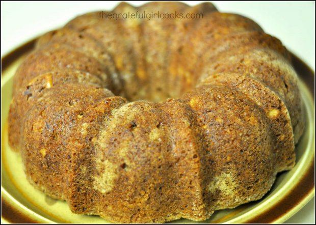 Baked cake on serving platter