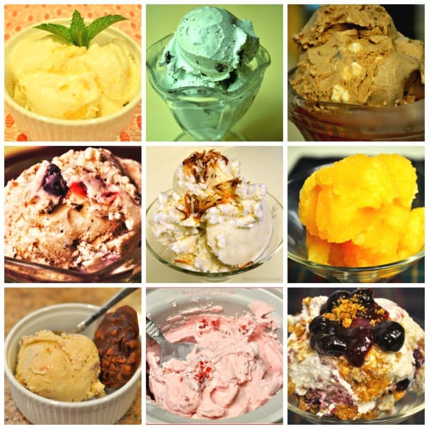 A collage of ice cream photos from my blog recipes.