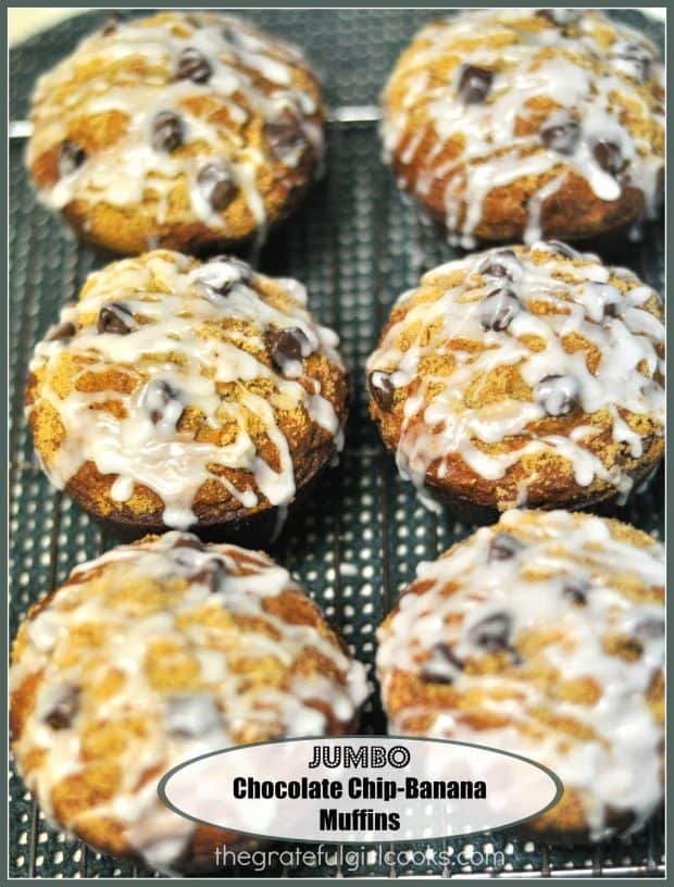 Jumbo Chocolate Chip-Banana Muffins / The Grateful Girl Cooks!