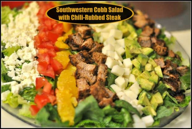 You'll enjoy this Southwestern Cobb Salad, with Romaine lettuce, feta cheese, orange slices, jicama, tomatoes, avocado & a delicious salad dressing.