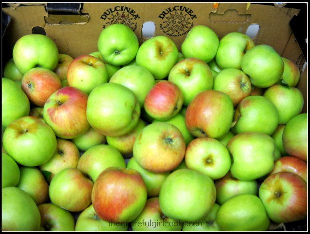 Big box of Gravenstein apples. Some were used to make apple pie stuffed won tons.