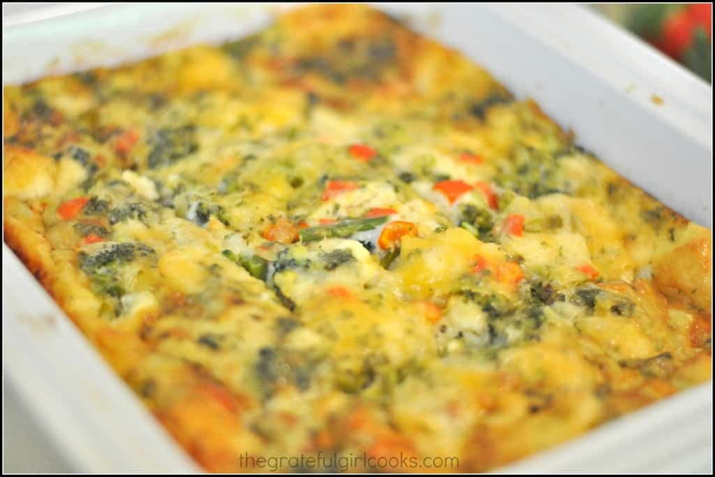 Egg, Cheese & Veggie Breakfast Casserole / The Grateful Girl Cooks!