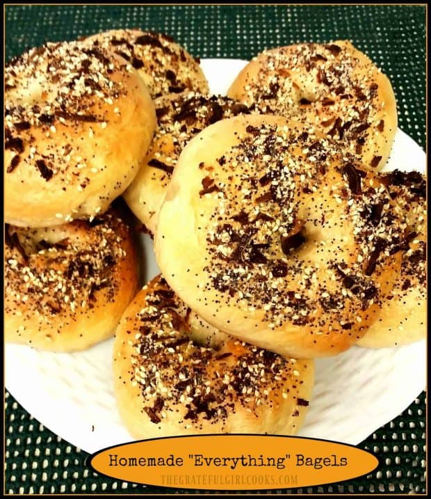 Enjoy some delicious homemade everything bagels (New York style) that are made from scratch, boiled, and then baked until chewy and golden brown!