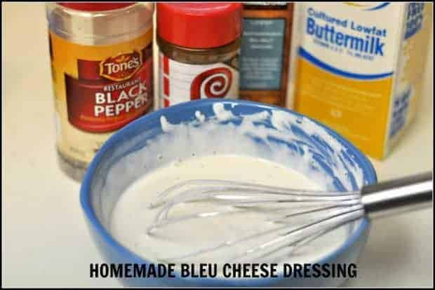 Homemade Bleu Cheese Dressing / The Grateful Girl Cooks! Make delicious, thick and creamy bleu cheese salad dressing from scratch, using only a few ingredients!
