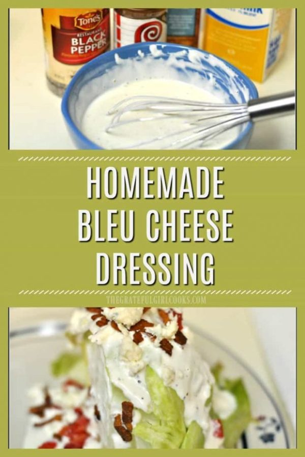 Make delicious, thick & creamy bleu cheese salad dressing from scratch, with only a few ingredients! This is a Morton's Steakhouse copycat recipe.
