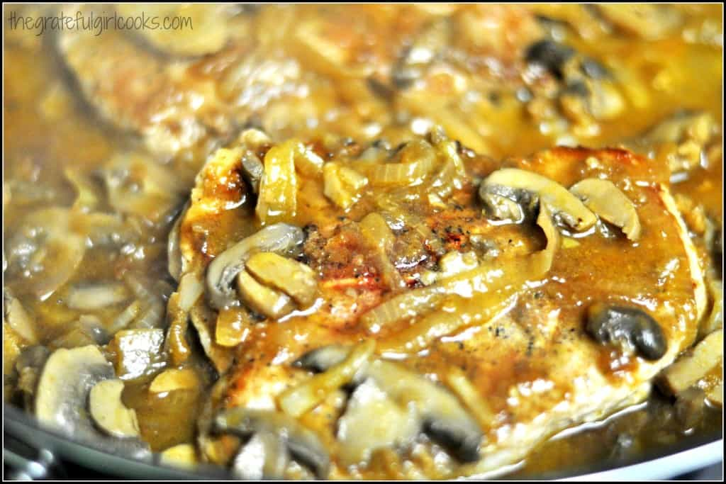 Pork Chops With Mushroom And Onion Gravy / The Grateful Girl Cooks!