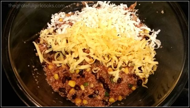 Grated cheddar and jack cheeses are added to casserole ingredients.