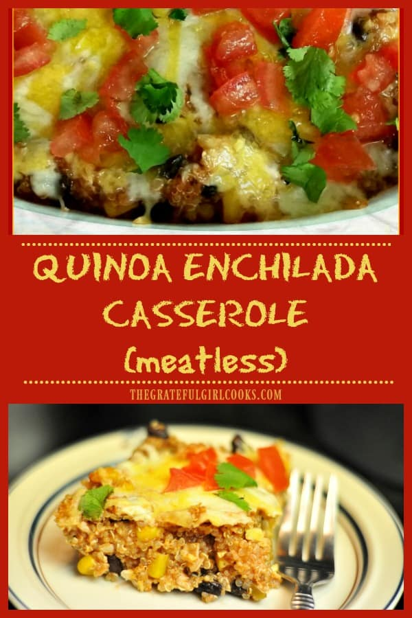 This meatless quinoa enchilada casserole, with quinoa, black beans, corn, spices, enchilada sauce and cheese will be enjoyed by everyone, vegetarian or not!