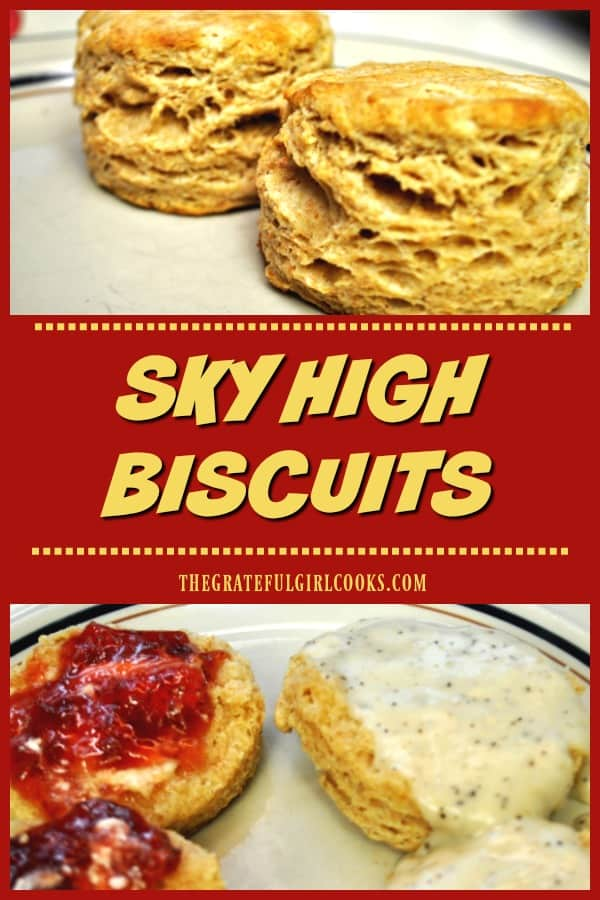 Sky High Biscuits are made in 30 minutes, using a combination of whole wheat and all purpose flour. Yummy and easy on the budget!
