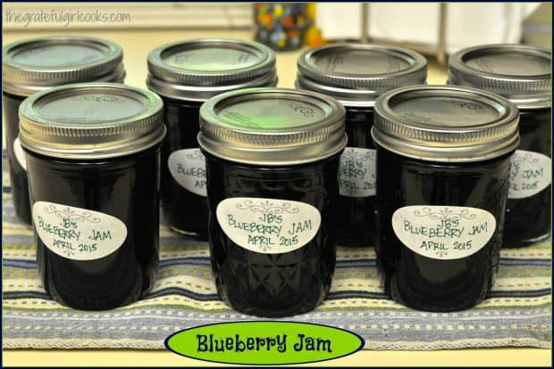 Homemade blueberry jam- nothing beats the fresh taste of these delicious preserves! Recipe includes instructions on how to can jars for long term storage!