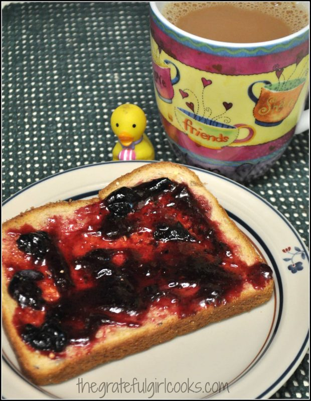 Homemade blueberry jam on a piece of toast- yum!