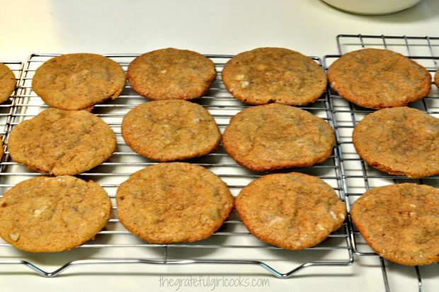 Butter Pecan Crisps, cooling on wire racks after baking.