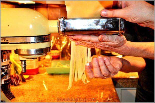 Making fresh fettucine for this dish.
