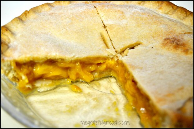 Peach pie is sliced and served!