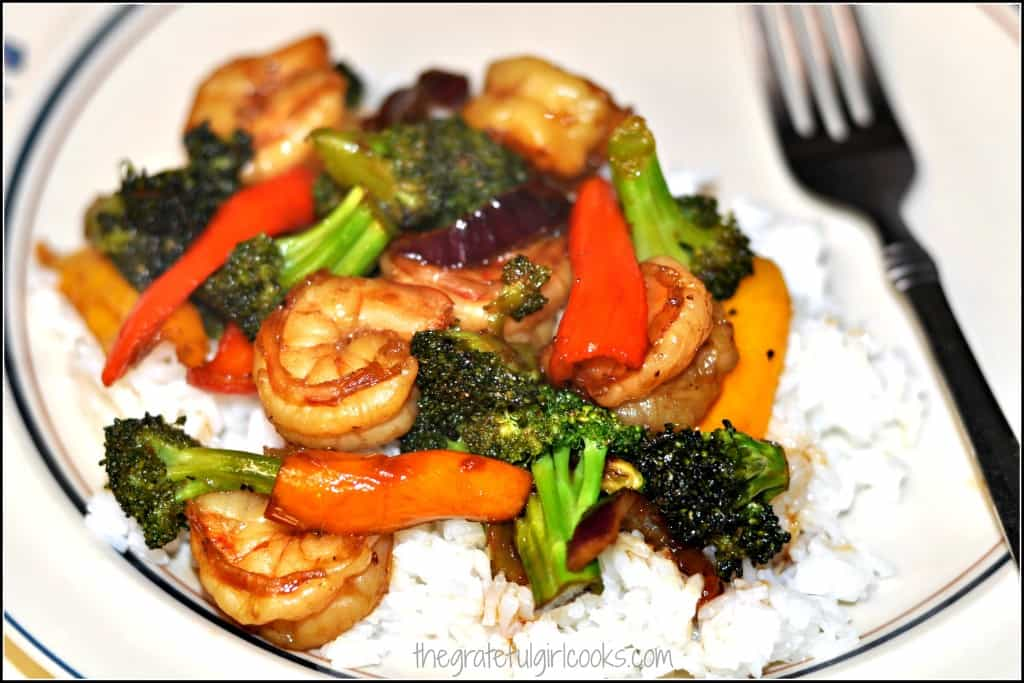 Stir Fry Asian Glazed Shrimp & Veggies / The Grateful Girl Cooks!
