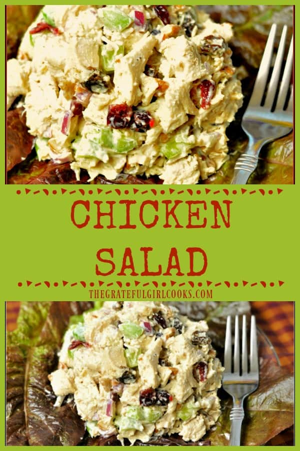 This easy to prepare, delicious chicken salad, with cranberries, celery and pecans can be eaten as is, or served in pita bread or rolls for a great sandwich.