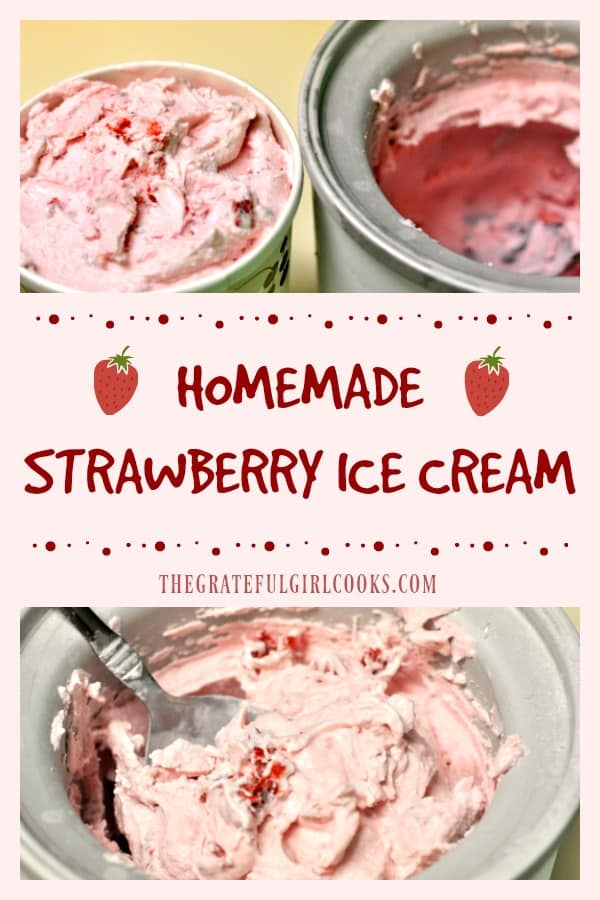 Thick, cold and creamy homemade strawberry ice cream is packed with fresh strawberries and is the perfect dessert treat, any time of year!