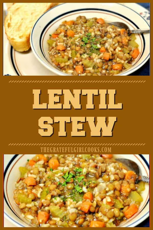 Hearty, healthy and delicious, you will love this low calorie, thick homemade lentil stew for an easy and inexpensive lunch or dinner!