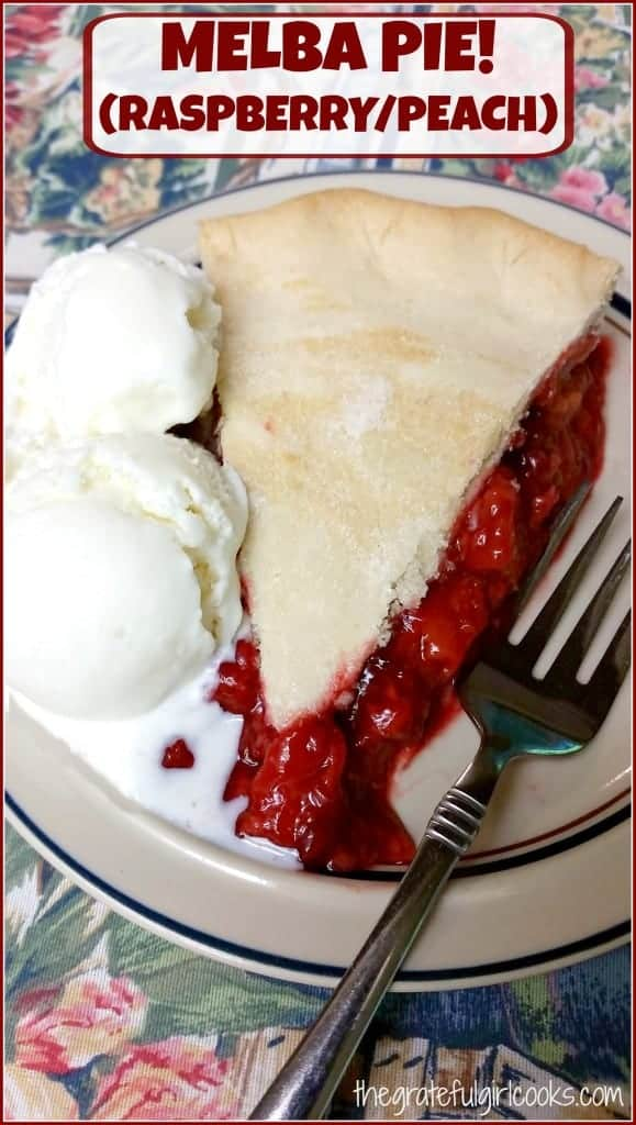 Melba Pie! (RaspberryPeach) / The Grateful Girl Cooks! Peaches and raspberries are featured in this delicious pie!
