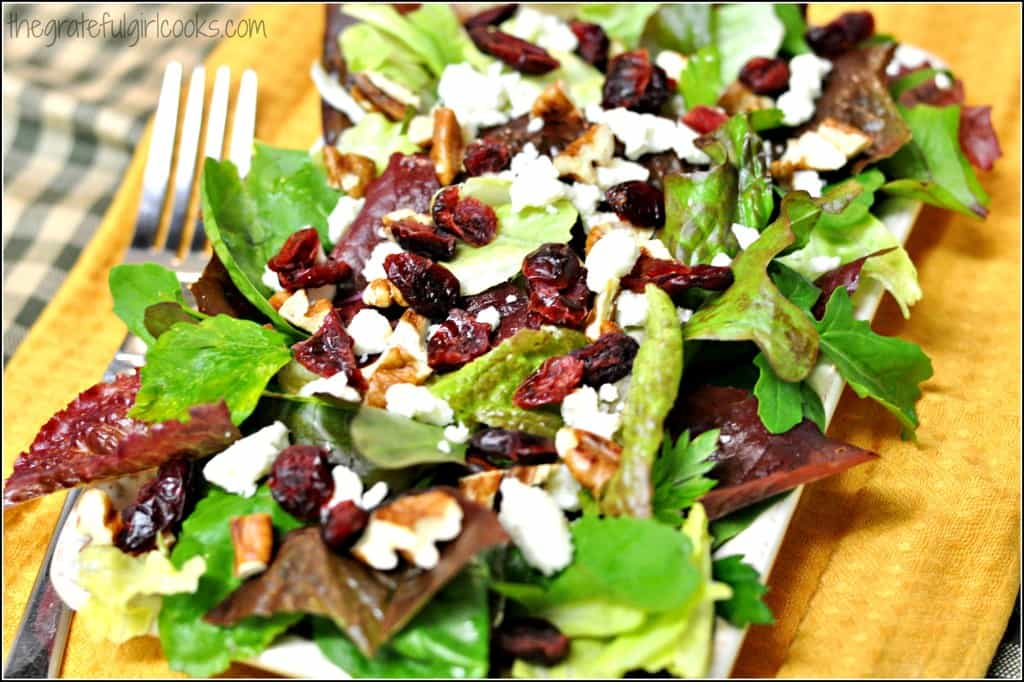 Mixed Greens, Cranberries, Feta & Pecans with a Creamy Lemon Dressing / The Grateful Girl Cooks!
