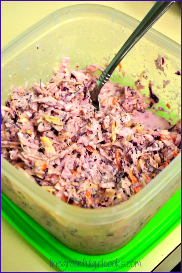 The longer the purple coleslaw is refrigerated, the deeper the color becomes.