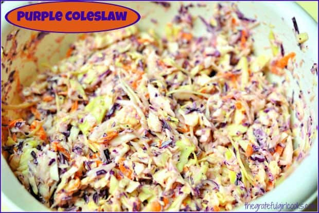 Purple coleslaw, with homemade poppyseed dressing, is a quick, easy salad that's perfect for BBQ's! Slaw turns deep purple the longer it refrigerates.