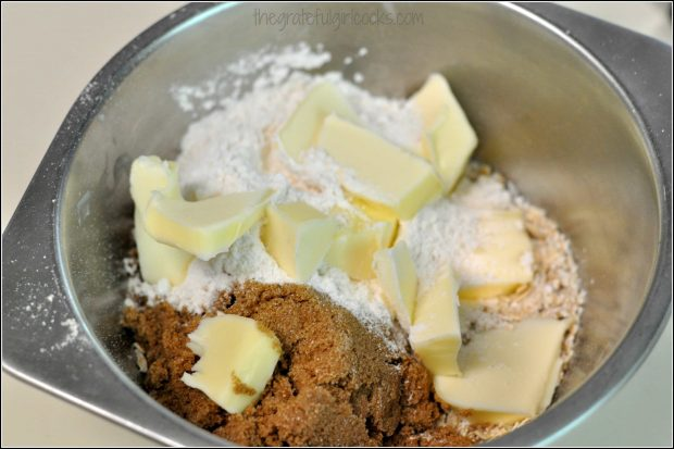 Mixing brown sugar, butter, and flour for cobbler topping
