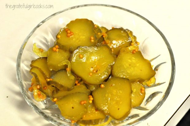 Homemade bread and butter pickles, in serving bowl