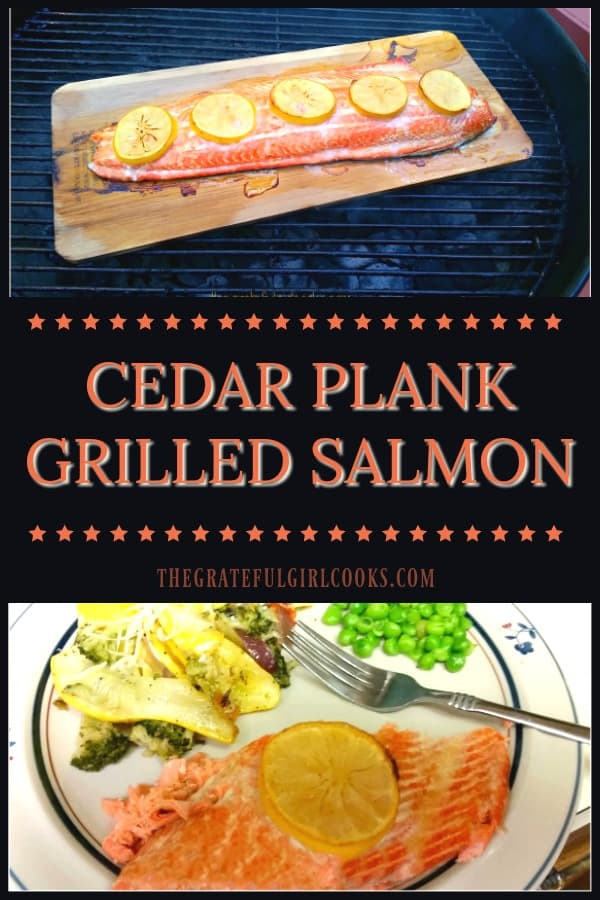 Cedar Plank Grilled Salmon with butter, lemon and spices is a simple, easy way to BBQ outside on hot, summer days!