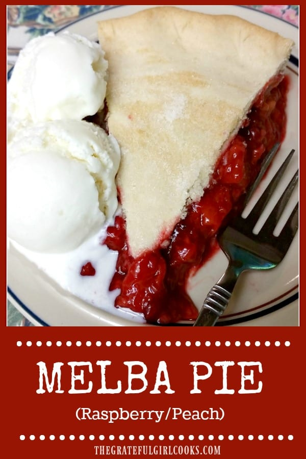 You'll love Melba Pie for your next dessert... a classic, double-crusted pie, featuring the wonderful, sweet flavors of fresh raspberries and peaches!