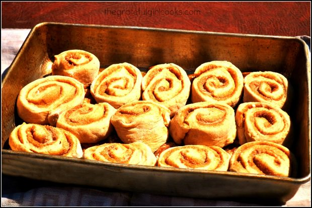 The dough for the sweet rolls has risen, and is now ready to bake.