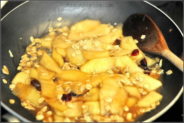 Apple slices, oats and cranberries cooking in skillet
