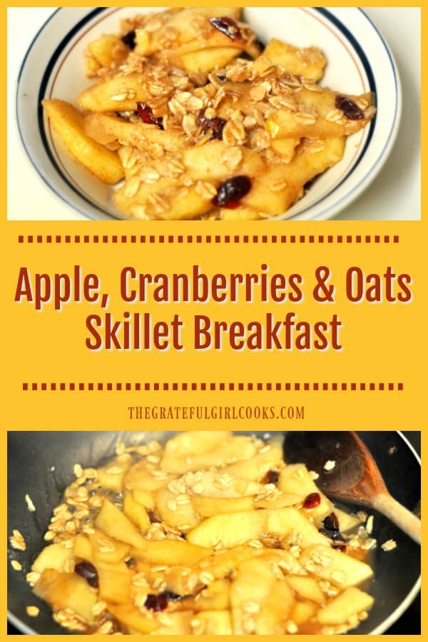 Comforting and delicious, this easy and healthy apple cranberries oats skillet breakfast will make you think you're eating apple pie for breakfast!