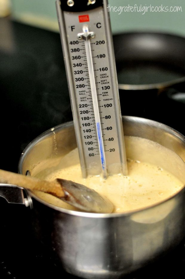 Candy thermometer in boiling sauce for bacon pecan pralines.