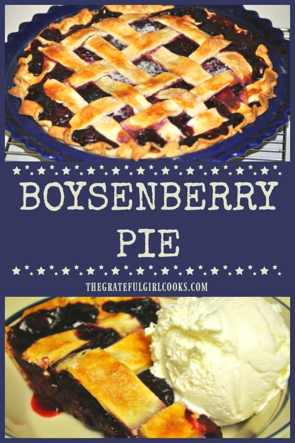 Enjoy the flavor of summer berries with homemade Boysenberry Pie! Serve a slice topped with vanilla ice cream for a classic, delicious dessert!