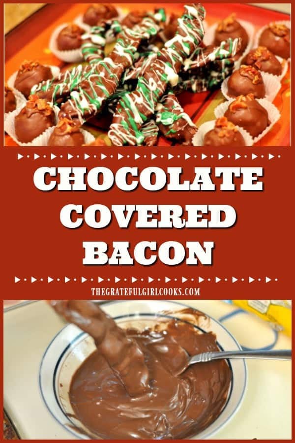 Chocolate-covered bacon is both sweet and salty, incredibly easy to make, and is a very unique, but DELICIOUS crispy treat you will LOVE!!