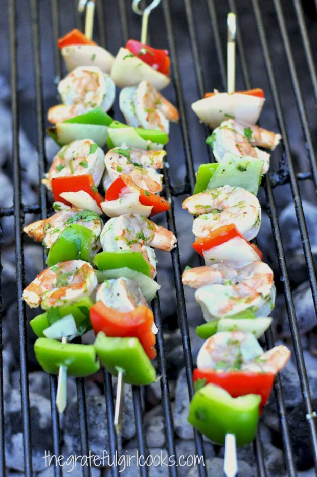 Grilled Lime-Cilantro Shrimp Kabobs / The Grateful Girl Cooks!