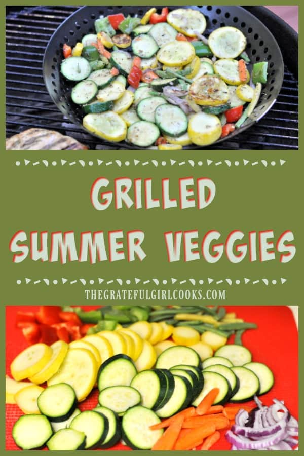 Grilled Summer Veggies, with zucchini, yellow squash, carrots, onion, green and red peppers and green beans are cooked on BBQ, then topped w/ Parmesan cheese!