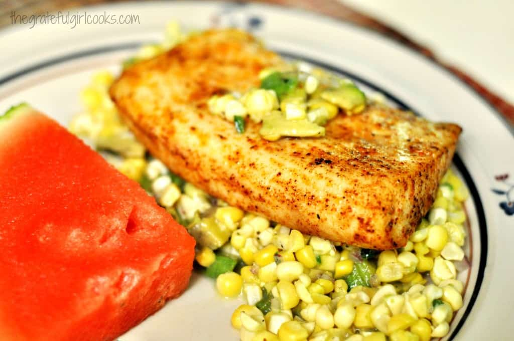 Mahi Mahi with Corn & Avocado Salsa / The Grateful Girl Cooks!